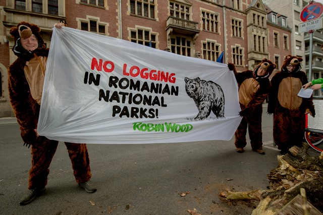 Protest action with bear in Berlin: EU environmental ministers must protect Romania's virgin forests
