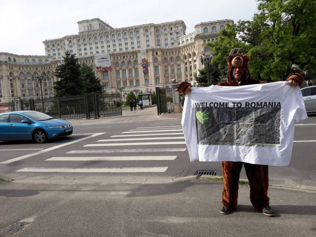 Colourful protests outside Romanian parliament call for protection of virgin forests